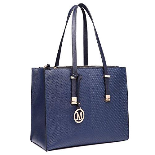 Miss Lulu Women Adjustable Designer Shoulder Handbags Ladies A4 Size Laptop Large Faux Leather Tote Bags (Navy)