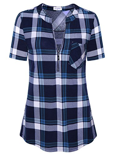 Bulotus Short Sleeve Shirts For Women Blue Plaid Tunic Tops For Leggings (A-plaid Blue, Large)