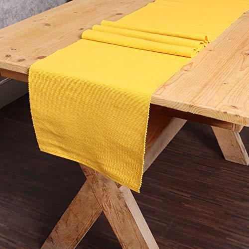 REDEARTH Tischläufer, solide gerippte gewebte Tischwäsche für quadratische, runde und rechteckige Esstische, Couchtische, Konsole, Kommode, 100% Baumwolle (14 x 72 cm); senffarben