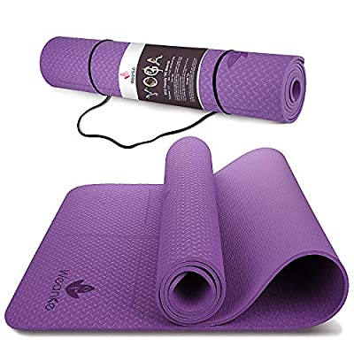 Yoga Mat 1/4 inch Thick Exercise Mat For Men & Women Eco Friendly TPE Non Slip Workout Mat For Yoga Pilates Fitness Stretching (Purple)