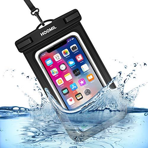 HOOMIL wasserdichte Handyhülle, Universal Wasserfeste Handytasche IPX8 Unterwasser Handy Hülle für iPhone 12 Pro Max/12 Mini/12/12 Pro, iPhone SE 2020/8/7, iPhone 11/11 Pro, Schwarz