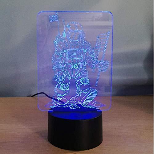 Lámpara 3D ilusión visual Ilusión óptica Luz de noche para Niños astronaut mejor regalo de para niños y niñas Con carga USB, control táctil de cambio de color colorido