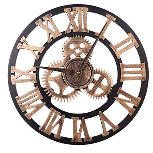 XINYAN JIA Redondo Reloj Pared, Silencioso Retro Reloj De Pared Equipo Decorativo con Números Romanos Dorados, 3D Diseño Gear Madera Vintage Reloj Pared, para Cocina, Sala Estar,Oro,80CM