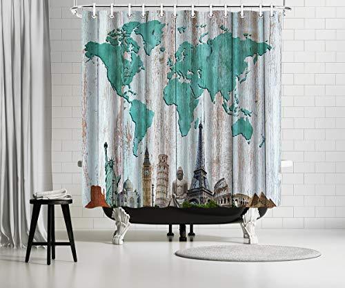 Kalormore Rustikaler Duschvorhang Grün Reise Weltkarte Duschvorhang für Badezimmer Wasserdichter Stoff mit Haken 72x72