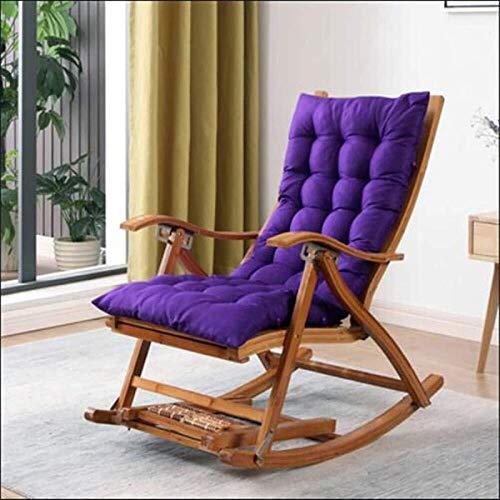 Silla tumbona Caja plegable de bambú Cabaña Longue Ajustable Silla mecedora Reclinable Jardín Tomando el sol con la silla de reclinación del balcón y el masaje extendido (Color: Silla + Cojín violeta)