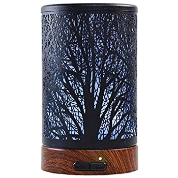 EQUSUPRO Essential Oil Diffuser 100ml Metal Aromatherapy Oil Diffuser Ultrasonic Cool Mist Diffuser with Waterless Auto Shut-Off Protection,7 Colors Changed LED for Home Office SPA Yoga  Tree