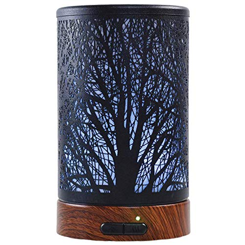 Ultrasonic Cool Mist Essential Oil Diffuser 100ml Capacity Metal Aromatherapy Diffuser with Waterless Auto Shut-Off Protection,7 Colors Changed LED for Home,Office,SPA