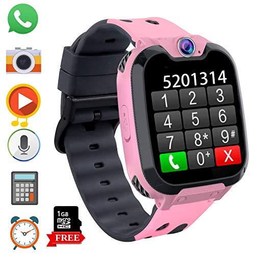 Smartwatch Telefono per Bambini, Orologio Digitale con Conversazione Bidirezionale Lettore MP3 Gioco Sveglia Calcolatrice Registratore Timer Watch per Ragazzo Ragazza Regalo Student (Rosa)