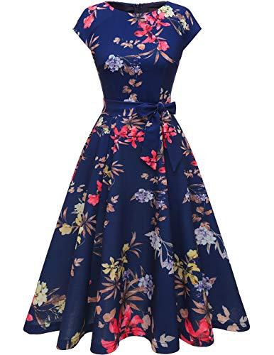 DRESSTELLS 1950er Vintage Retro Cocktailkleid Rockabilly V-Ausschnitt Faltenrock Hochzeitskleid Midilang Navy Flower S
