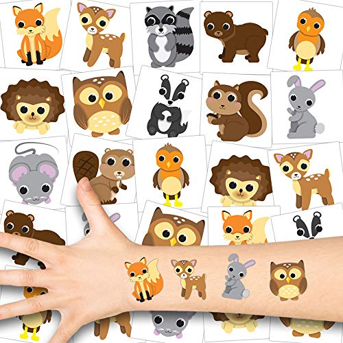 German Trendseller® Woodland Kinder Tattoos - Set ┃ Neu ┃ Tattoo Party ┃ Kindergeburtstag ┃ Mitgebsel ┃ Süße Kleine Waldtiere ┃ 12 Tattoos