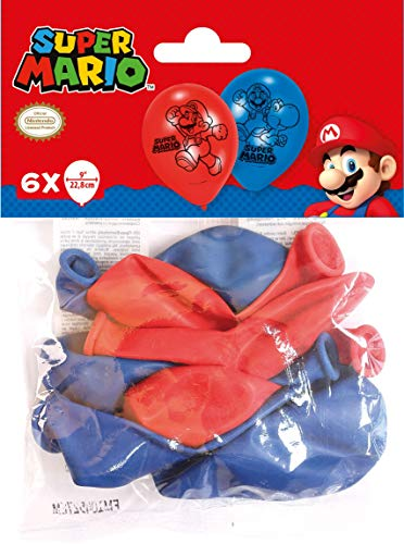 Amscan 9901546 6 Latexballons Super Mario, Blau/Rot