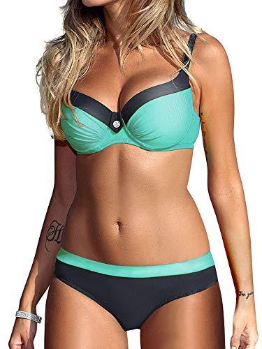 Tmaza Bikini Sets Damen Sexy Bademode Push up Bikinis Badeanzug Zweiteiler Strand Swimwear Swimsuits Beachwear Grün,3XL