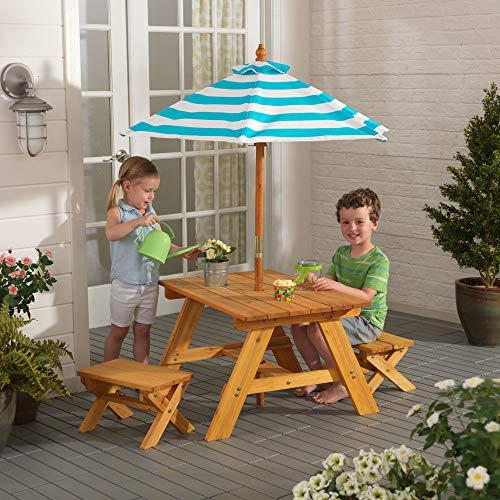 KidKraft Outdoor Table w/ Benches & Umbrella Natural, 31.9 x 29.5 x 18.9
