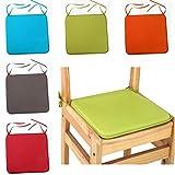 LNIMIKIY Cuscino quadrato per sedia, in tinta unita, 40 x 40 cm, con lacci, per patio, casa, auto, divano, ufficio, decorazione Tatami, Verde chiaro, 1pc