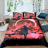 Castle Fairy Scary Vampire King Pattern Bedding Set Boys Girls Black Evening Red Light Duvet Cover Sets King Gothic Style Black Crow 3 Pieces Comforter Sets(1 Duvet Cover 2 Pillow Cases)