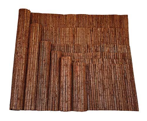 Nature LOUNGE Rindenmatte 80 x 300 cm - Sichtschutz Zaun mit Langer Haltbarkeit - Strapazierfähige Sichtschutzmatte aus Baumrinde
