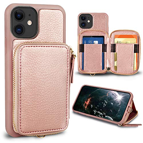 iPhone 11 Wallet Case,ZVE iPhone 11 Case with Credit Card Holder,Zipper Wallet Case with Wrist Strap Protective Handbag Purse Leather Case Cover for Apple iPhone 11 6.1 inch - Rose Gold