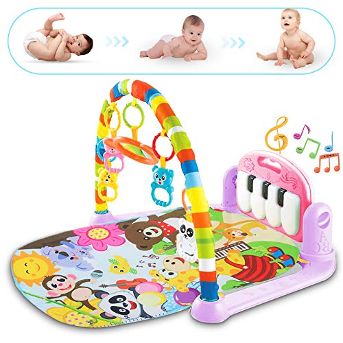 WYSWYG Baby Gym Jungle Musical Play Mats for Floor, Kick and Play Piano Gym Activity Center with Music, Lights, and Sounds Toys for Infants and Toddlers Aged 0 to 6 to 12 Months