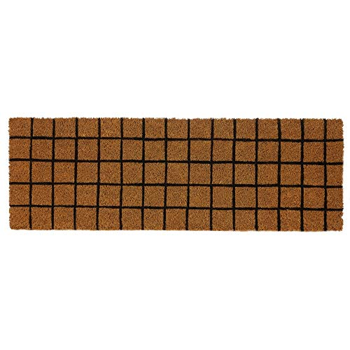 Felpudo Cuadro Antideslizante marrón de Fibra de Coco de 75x25 cm. - LOLAhome