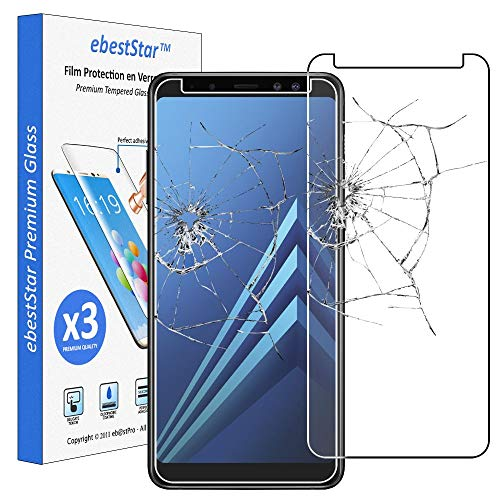 ebestStar - [Lote x3 Cristal Templado Compatible con Samsung A8 2018 Galaxy SM-A530F Protector de Pantalla, Película Vidrio Dureza 9H, Sin-Burbujas [Aparato:149.2x70.6x8.4mm 5.6