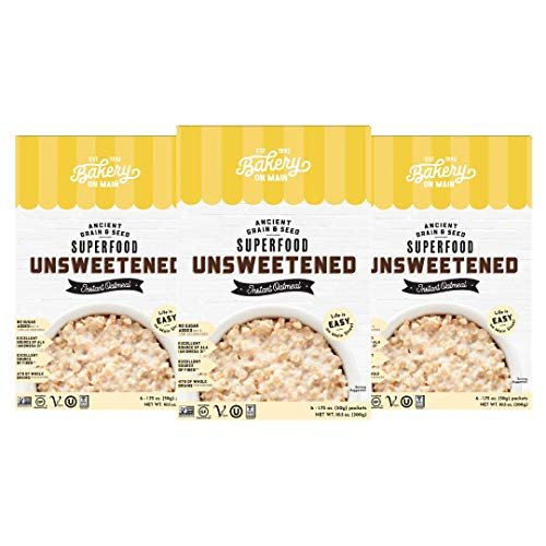Bakery On Main, Gluten-Free Instant Oatmeal, Vegan & Non GMO - Unsweetened, 10.5oz (Pack of 3)