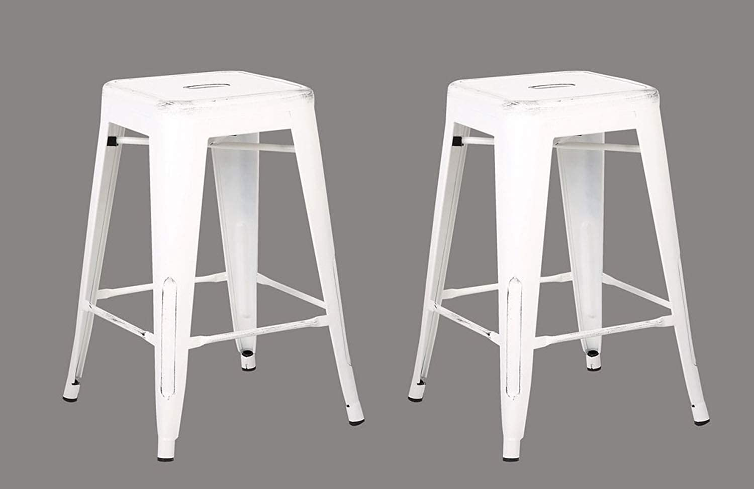 Home Roots Furniture 24  H Distressed Metal Backless Barstool, White - Set of 2
