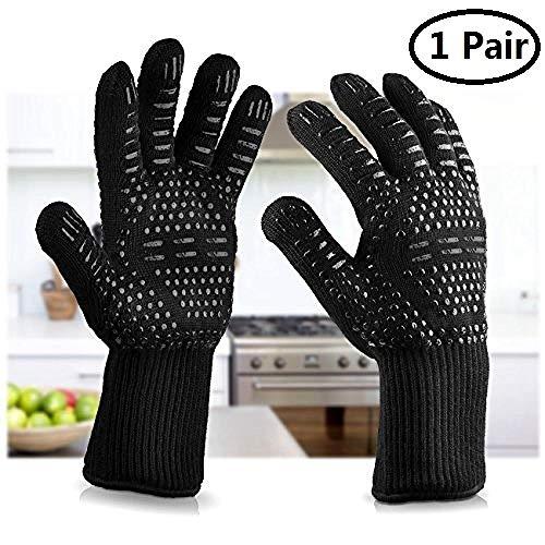 BBQ Handschoenen Oven Handschoenen Hittebestendig, Oven Handschoenen met Vingers, Heave Duty Silicone Oven Handschoenen voor Barbecue, Koken, Bakken, Grillen