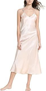 Women's Sexy Satin Deep V-Neck Adjustable Spaghetti Strap Sleeveless Long Nightgown