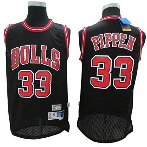 XH-Sport Heren Basketbal Kleren, Bulls #33 Pippen Klassieke Trui, Vintage Cool Ademend Stof All-Star Unisex Fan Uniform,C,XL(185CM/85~95Kg)