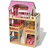 vidaXL Casa de Muñecas de 3 Pisos Dimensiones 60x30x90 cm Madera Multicolor