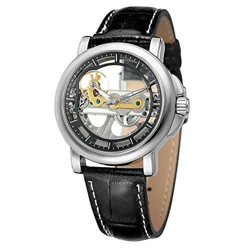 Snow Island Manipulator-Armbanduhr, manuell an der Kette, Retro-Stil, Freizeit-Uhrgürtel (silberfarbenes Gehäuse, schwarzer Gürtel)
