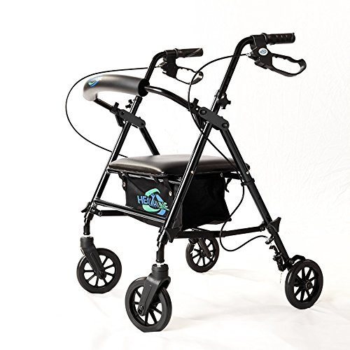 """Lightweight Rollator Walker with Seat and Brakes, Super Light Rollator Lightweight Aluminum Walker with Seat and Basket, Brakes, 6"""" Wheels, Easy Adjustable Rollator Walker Seat and Arms, Black"""