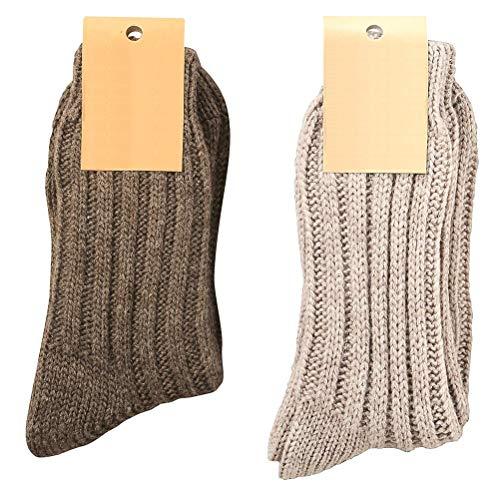 krautwear 2 Paar Weiche Wollsocken mit Alpaka für Damen & Herren Warme Socken Wintersocken bis Größe 50 (braun+grau-39-42)