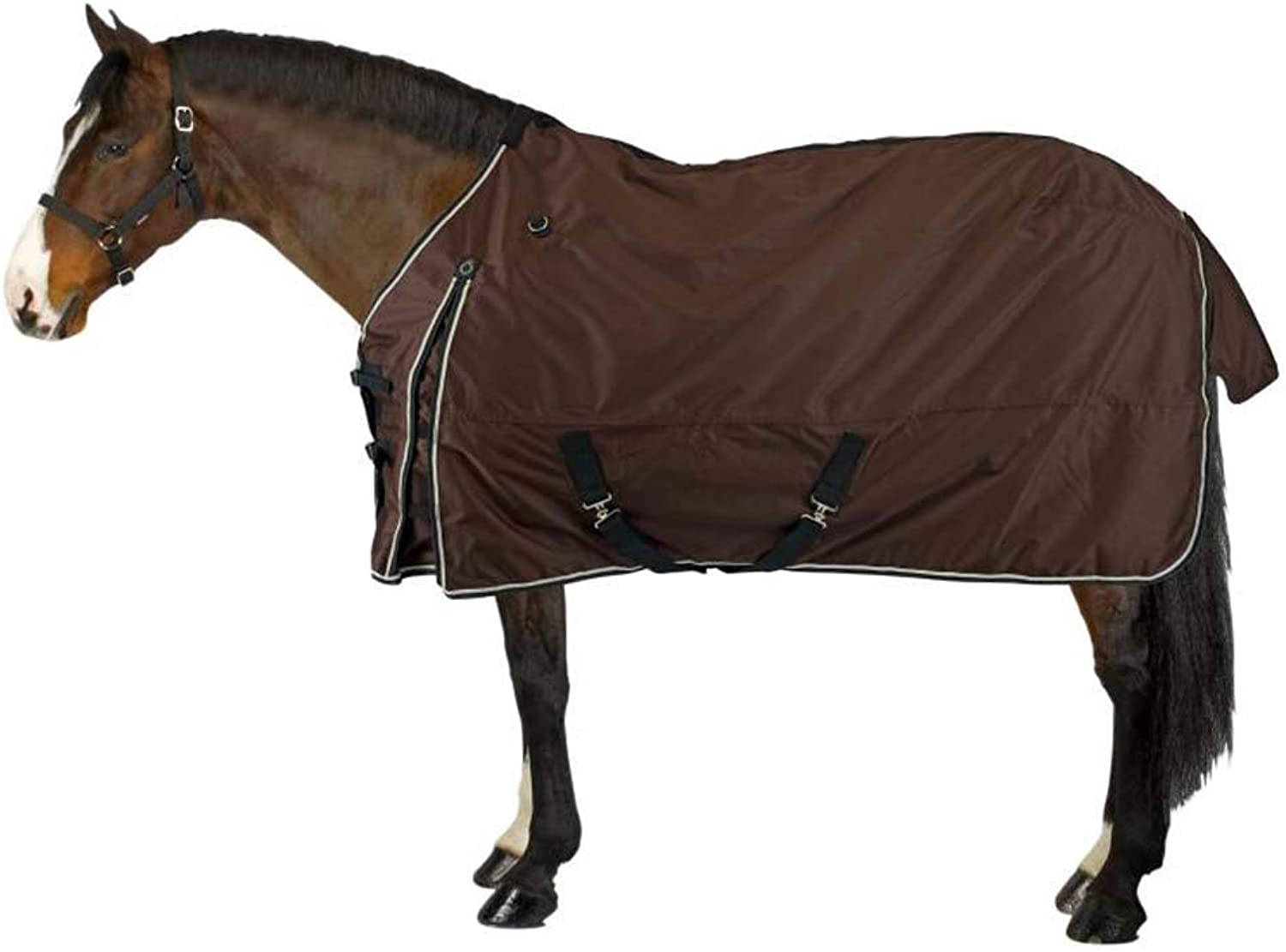 Horse blanket Turnout Rug Combo Winter Full Neck Fill Waterproof Fixed Combo Unisex for Equestrian Pony Horse Riding,Brown,125cm