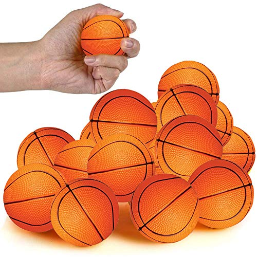 ArtCreativity Basketball Stress Relief Foam Balls for Kids, Set of 12, Sports Squeezable Anxiety Relief Balls, Idea, Party Favors, Goodie Bag Fillers for Boys and Girls