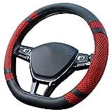 Pahajim D Tipo Coprivolante Auto, Traspirante e Antiscivolo Copertura di Volante Universale Accessori dell'Automobile 38cm(15'') (D-Rosso)