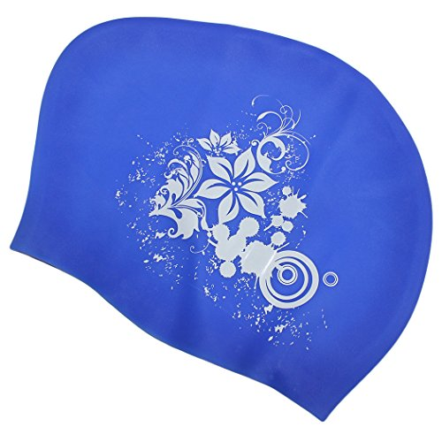 Dianoo Extra Large Fashion Comfortable Swim Caps for All Kinds of Style Hair - Silicone Swimming Protective Hair Cap Ear Wrap Waterproof Hat for Women (Blue + Lily)