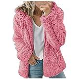 Women's Coat Casual Lapel Fleece Fuzzy Faux Shearling Zipper Warm Winter Outwear Jackets Long Sleeve Zip Up Shaggy Jacket with Pockets Hot Pink