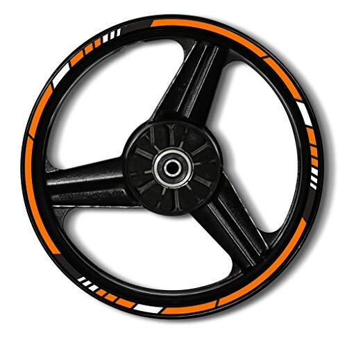 Zerald Pegatinas para Llantas de Moto Reflectante 17 Pulgadas Adhesivos Ruedas tecnología 3M (Naranja)