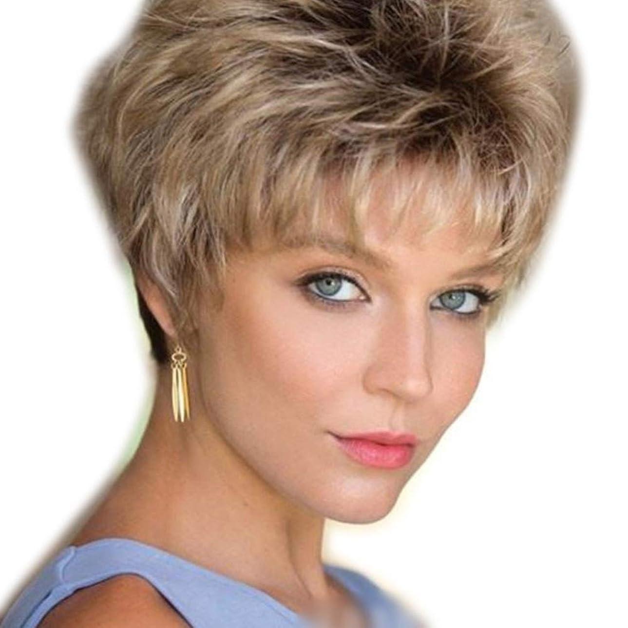勝利したアジア民主党Yrattary 女性の短い巻き毛のような濃いルーツオンブルブロンドの髪ウィッグふわふわ (色 : Blonde)