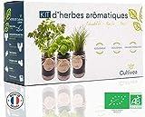 Cultivea – Kit Prêt à Pousser d'Herbes Aromatiques – Graines Françaises 100% Écologiques et Bio – Jardin potager d'intérieur – Plante (Basilic, Persil et Ciboulette) - Idée Cadeau -