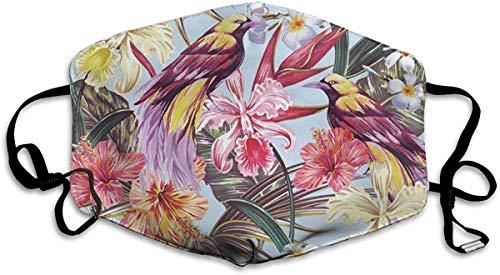 Blätter Dschungelblatt Hibiskus Orchidee Blume Paradiesvogel Mundmaske Halbgesichtsmasken Winddichte Maske Anti Wiederverwendbar Komfortabel Atmungsaktiv Unisex Staubdicht Personalisiert