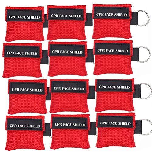 Packung mit 12 Stück CPR-Maske Schlüsselbund Schlüsselbund Notfall-Set CPR-Gesichtsschutz für Erste Hilfe oder CPR-Training (Red-12)