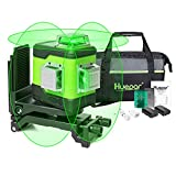 Huepar 3D Cross Line Self-Leveling Laser Level 3 x 360 Green Beam Three-Plane Leveling and Alignment Laser Tool-Switchable Vertical & Horizontal Lines, Li-ion Battery&Portable Tool Bag Included 503CG