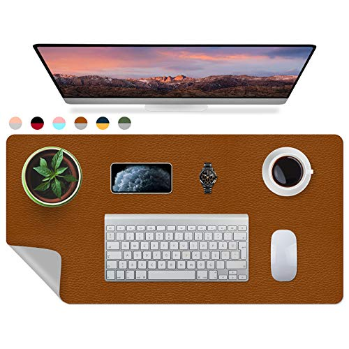 iLeadon Desk Pad, Dual-Sided Large Gaming Mouse Pad, Office Desk Mat, Durable PU Leather Desk Blotter Protector, Waterproof Desk Writing Pad for Office and Home, 31.5' x 15.75' - Brown/Gray