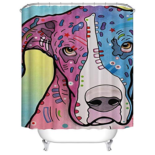 Fansu Shower Curtains Mould Proof Resistant Waterproof 3D Printed Bath Curtain for Bathroom with 12 Hooks Polyester Fabric Cartoon Creative Home Decor (dog,165x180cm)