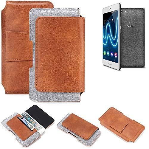 K-S-Trade® Schutz Hülle Für Wiko Fever Special Edition Gürteltasche Gürtel Tasche Schutzhülle Handy Smartphone Tasche Handyhülle PU + Filz, Braun (1x)