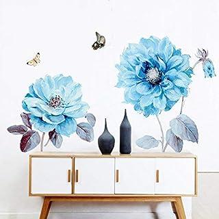 Alicemall 3D Pegatinas de Pared Flor Azul con Mariposas Vinilo del Arte de Pared Decoración de Pared 90*60cm
