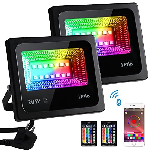 Focos LED Exterior RGB, 20W Foco LED Colores 16 Millones Colores con...