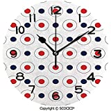 TABUE Runde Wanduhr, Vintage Pop Art 60er Jahre Stil Dots Circles Runden mit inneren Details Art Quiet Desk Clock